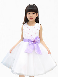 Girl's Purple / Red Dress,Lace Cotton / Polyester Summer