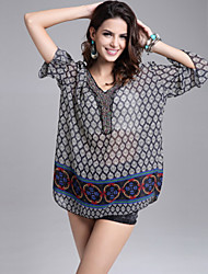 Women's Casual Plus Size Beach Print Bikini Wrap / Chiffon Blouse