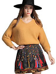 Womens 2Pcs Soft Sweater Retro Pattern Mini Skirt