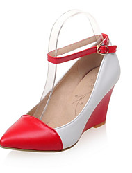 Women's Shoes Leatherette Wedge Heel Wedges / Pointed Toe Heels Wedding / Office & Career  / Casual Black / Red