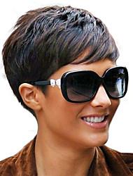 4inch Fashion Short Rihanna Style Brazilian Virgin Remy Hair Capless Short None Lace Wigs