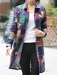 Women's Casual/Daily Plus Size Spring Shirt,Print Shirt Collar Long Sleeve Blue Cotton / Linen Medium