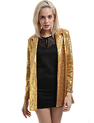 Women's Spring Blazer,Solid Long Sleeve Gold / Silver Polyester Medium