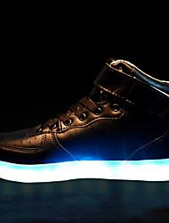 Feminino Masculino Para Meninos Para MeninasBailarina Inovador Light Up Shoes-Rasteiro-Preto Branco-Courino-Casamento Ar-Livre Escritório