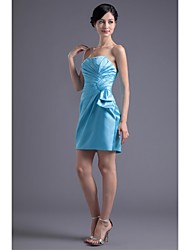 Short/Mini Stretch Satin Bridesmaid Dress-Pool Trumpet/Mermaid Strapless