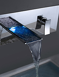 Contemporary Chrome Brass Personalized Wall Mounted LED Bathroom Sink Faucet - Silver