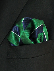Men's Pocket Square  Green Stripes 100% Silk Wedding Business