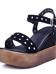Women's Shoes Nappa Leather Wedge Heel Wedges / Gladiator Sandals Office & Career / Dress / Casual Black