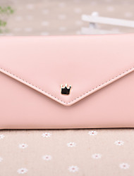 Fashion Simple Style Small Crown Metal Buckle Triple Lateral Multi-Card Bit Long Horizontal  Card Package Lady Wallets