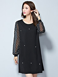 Women's Simple / Street chic Polka Dot Plus Size / Loose Dress,Round Neck Above Knee Polyester