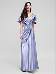 ts Couture® gaine de robe de soirée / colonne v-cou tribunal train satin stretch avec drapé latéral / cross criss