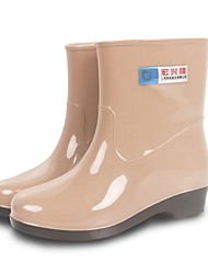 Women's Spring Summer Fall Winter Rain Boots PVC Outdoor Flat Heel Blue Red Khaki