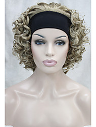 Natural Short Wavy Curly 3/4 Wig Blonde mix with Headband Wigs free shipping