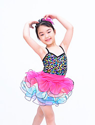 Ballet Outfits Children's Performance Organza / Sequined / Lycra Ruffles / Sequins / Tiers Sleeveless Natural