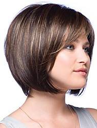 voga marrom mulher com destaques perucas sintéticas retas curtas
