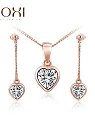 Lady's Gold Heart Jewelry Set include Necklace & Earrings for Gift