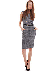 Women's Casual / Day Check Sheath Dress,Shirt Collar Midi Polyester