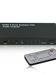 4x1 HDMI Intelligent Switcher with Audio Output (Stereo,Toslink or COAX (RCA) with CE FCC RoSH Certificates