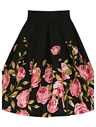 Women's Casual/Daily Knee-length Skirts,Vintage A Line Floral Floral Summer