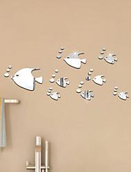 Acrylic Mirror Decorative Wall Stickers Wall Mirror Background Bubble Fish