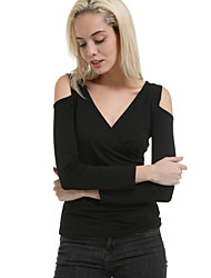 Women's Sexy Solid Strapless Slim T-shirt , V Neck Long Sleeve