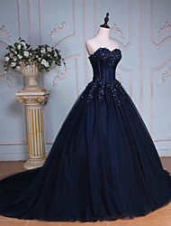 Ball Gown Sweetheart Chapel Train Lace Tulle Evening Dress with Beading