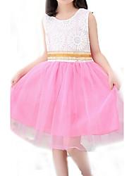 Vestido Chica de-Verano-Algodón-Verde / Rosa / Amarillo