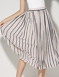 Women's New Style Chiffon Pleats Pleated skirt Medium Style Basic skirts Elastic Waist