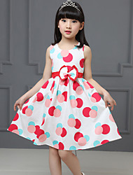 Girls Fashion Dot Print Party Birthday Children Clothing  Dresses (100% Cotton)