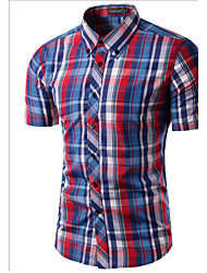 Brand Fashion Men's Short Sleeve Plaid shirts Slim Dress shirt,Cotton / Polyester Casual / Work Striped / Plaids
