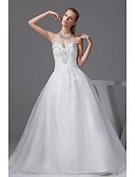 A-line Wedding Dress-Ivory Chapel Train Sweetheart Organza / Satin