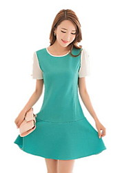 Women's Casual / Day Solid A Line Dress , Round Neck Above Knee Spandex  Dress