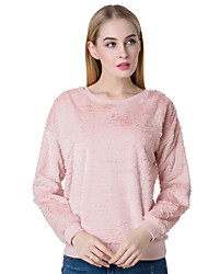 Women's Going out Cute Hoodies Solid Pink Cotton
