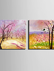 Mini Size E-HOME Oil painting Modern Pink Woods Pure Hand Draw Frameless Decorative Painting