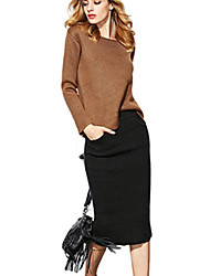 Women's 2Pcs Wide Fit Sweater Midi Skirt Suit