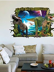 AY9265 3D Through The Wall Dinosaurs Wall Stickers Home Decoration DIY Living Room Decals Mural Art Poster