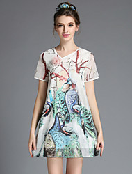 Summer Vintage Plus Size Women Elegant Chinese Cheongsam Style Print Peacock Loose Dress