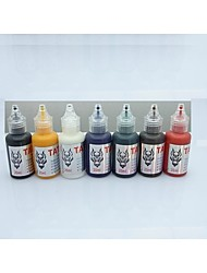 1 Set BaseKey Tattoo Ink  20MLx7 colors Red Brilliant Blue White Black Green Golden Dark Brown