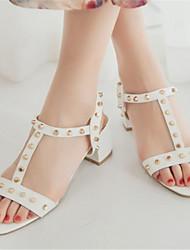 Zapatos de mujer-Tacón Robusto-Tacones-Sandalias-Oficina y Trabajo / Vestido / Fiesta y Noche-Semicuero-Blanco / Gris