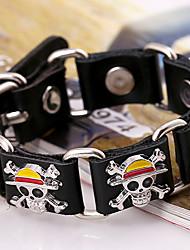 Fashion Alloy One Piece Pattern Inset Genuine Leather Linked Bracelet
