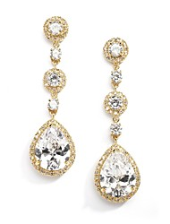Vintage Women's  Earrings Crystal Zircon Diamond  Gold Earring For Wedding Bridal