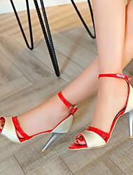 Women's Shoes Heel Heels / Peep Toe Sandals / Heels Outdoor / Dress / Casual Purple / Silver / Gold/618-1