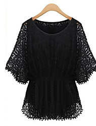 Women's Going out Plus Size / Street chic Blouse,Solid Round Neck Short Sleeve Black Rayon Medium
