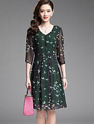 Women's Vintage Print A Line Dress,V Neck Knee-length Polyester