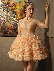 Cocktail Party Dress Ball Gown Scoop Short / Mini Lace / Satin withAppliques / Beading / Crystal Detailing / Embroidery / Flower(s) /