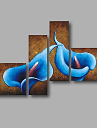 """Ready to Hang Stretched Hand-painted Oil Painting 60""""x40"""" Canvas Wall Art Modern Flowers Brown Blue Calla Lily"""