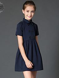 Vestido Chica de-Verano / Primavera / Otoño-Algodón-Azul / Beige