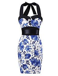 Women's Pencil Skirt White & Blue Floral Dress , Big Buttons Vintage Halter 50s Rockabilly Swing Dress