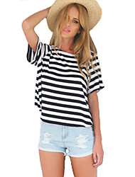 Damen Gestreift Sexy Ausgehen T-shirt,Rundhalsausschnitt Sommer Kurzarm Weiß Baumwolle / Kunstseide Dünn