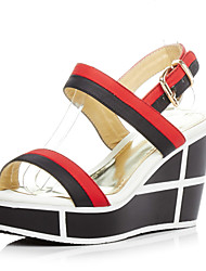 Women's Shoes Leather Wedge Heel Wedges Sandals Party & Evening / Dress / Casual Red / White